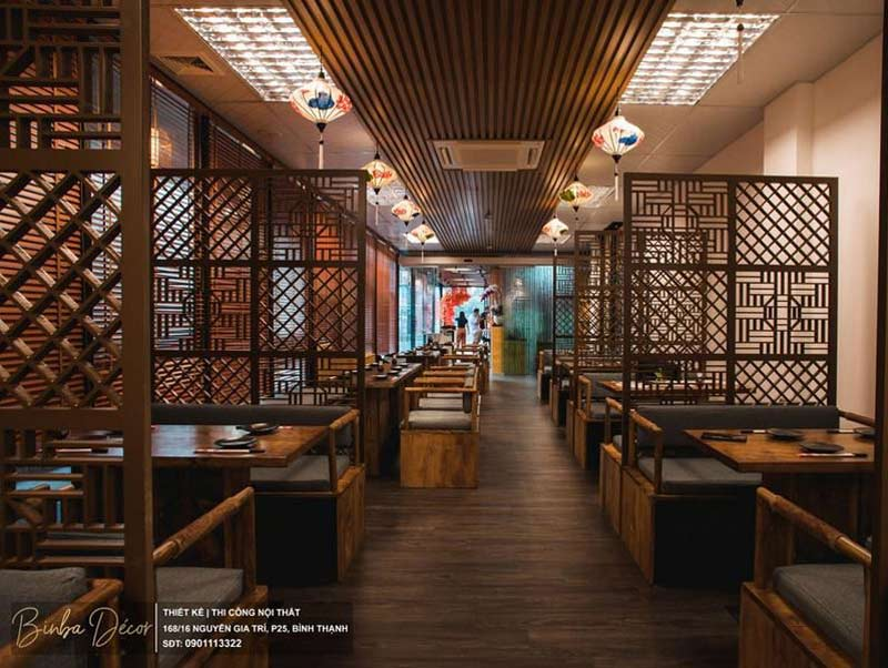 thiết kế nội thất nhà hàng Nhật truyền thống