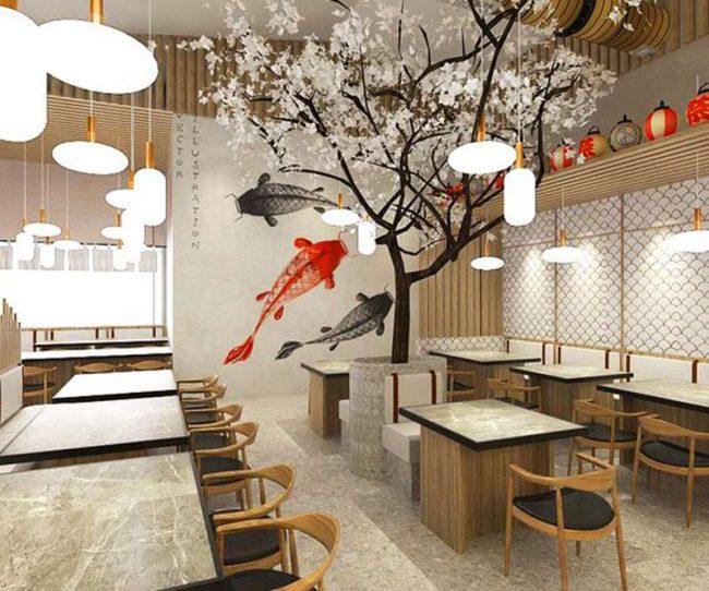 Với phong cách hiện đại, không gian nhà hàng thể hiện được sự trẻ trung nhưng vẫn giữ được nét đẹp đậm chất văn hóa ở xứ sở hoa anh đào.
