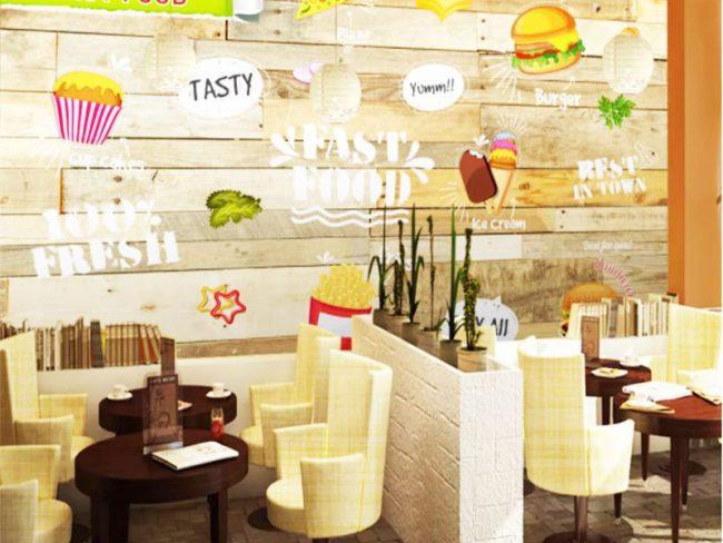 Thiết kế nội thất nhà hàng ăn nhanh theo phong cách hiện đại thì khi lựa chọn nội thất quý khách cũng nên chú trọng đến kiểu dáng, màu sắc,..