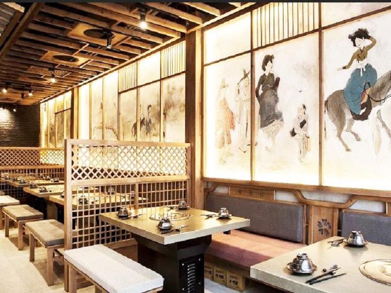 thiết kế nhà hàng châu Á Hàn Quốc